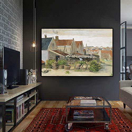 SADHAF Van Gogh Fisch Scheune Landschaft Ölgemälde Leinwand Reproduktion Nordic Poster und Druckgrafik Wohnzimmer Wandbild A3 50x70cm