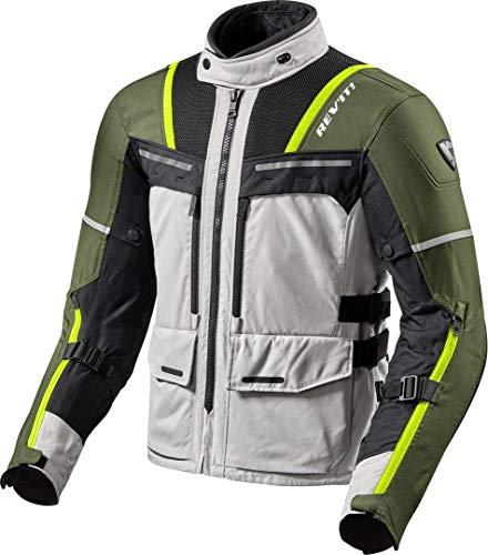 REV'IT! Motorradjacke mit Protektoren Motorrad Jacke Offtrack Textiljacke Silber/grün XL, Herren, Enduro/Adventure, Ganzjährig, Polyester