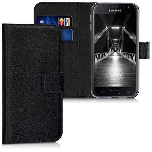 kwmobile Hülle kompatibel mit Samsung Galaxy J3 (2017) DUOS - Kunstleder Wallet Hülle mit Kartenfächern Stand in Schwarz