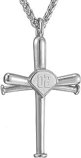 Baseball Necklace,Sports Men Boys Baseball Cross Necklace and Initial Number 0-99 Baseball Necklaces Athletes Stainless Steel Pendant Necklace Chain Custom Made for Women Girl