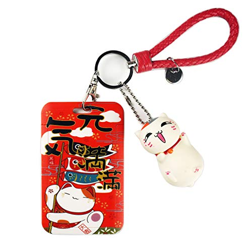 Genelion Lucky Cat Badge Holder with Hand Strap and Cute Japan Lucky Cat Ornaments, Personalized Kawaii ID Card Case Holder for Office Nursery School, Gift for Workers Teens Boys Girls