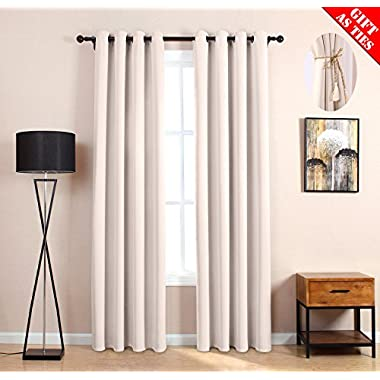 Blackout Curtains,Curtain Panels Bedroom Curtains Window Shades Room Darkening Thermal Insulated Fashion Grommet Window Curtains For Living Room Bedroom Kitchen(Cream,2 panels, 52Wx63L Inches)