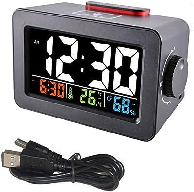 Shuangklei Despertador De Cabecera Despertador Digital con Termómetro De Temperatura Humedad Cuadro Reloj De Sobremesa Cargador