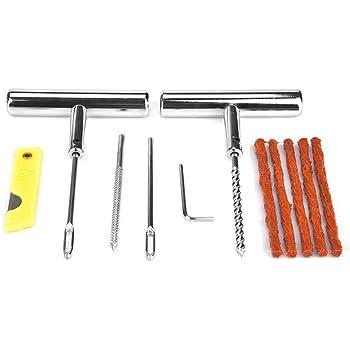 Kit de reparación de neumáticos de 13 piezas, conjunto de herramientas de reparación de automóviles, motocicletas y caja
