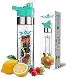 NEW AquaFrut Bottom Loading Fruit Infuser Water Bottle - BPA Free Tritan Plastic - Leak Proof - 24 OZ - Infusion Recipe eBook (Teal)
