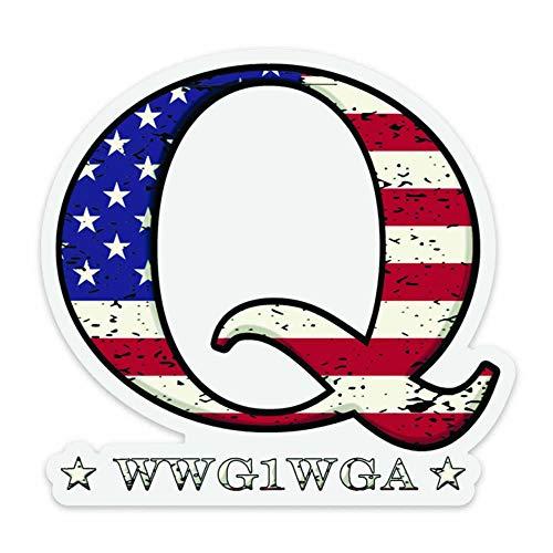 QAnon WWG1WGA Bright USA Flag Q Sticker Clear Q Anon Decal The Great Awakening Transparent Sticker