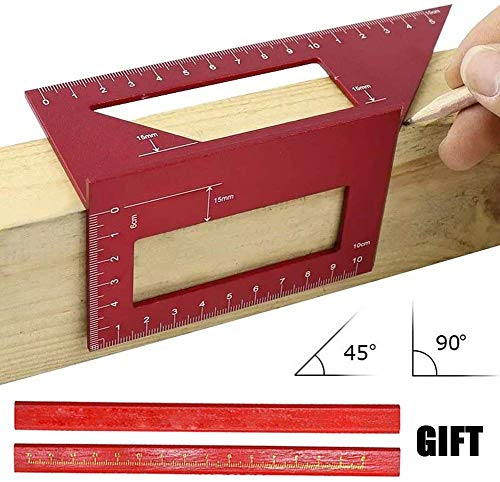 Aluminum Alloy Saddle Layout Square Gauge with 2 Pencils,Multifunctional 45/90 Degree Angle T Ruler 3D Mitre Angle Woodworking Measuring Tools