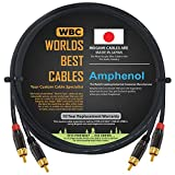 3 Foot – High-Definition Audio Interconnect Cable Pair CUSTOM MADE By WORLDS BEST CABLES – using Mogami 2964 wire and Amphenol ACPL Black Chrome Body, Gold Plated RCA Connectors
