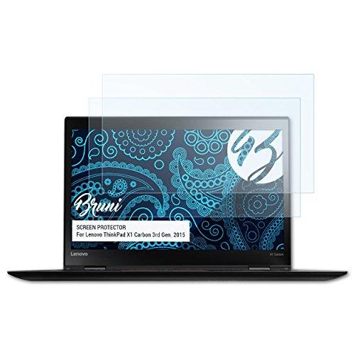 Bruni Schutzfolie kompatibel mit Lenovo ThinkPad X1 Carbon 3rd Gen. 2015 Folie, glasklare Bildschirmschutzfolie (2X)