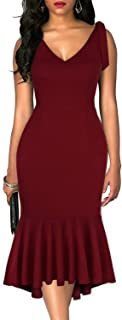 Drimmaks Women's V Neck Faux Tie-Straps Shoulder Deep V Back Fitted Mermaid High-Low Trumpet Formal Party Dress