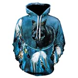 EFGHK Blue Timberwolves Pattern 3D Printing Hoodie Running Otoño Invierno...