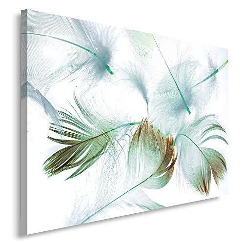 Feeby. Cuadro en Lienzo - 1 Parte - 60x80 cm, Imagen impresión Pintura decoración Cuadros de una Pieza, Plumas, Blanco