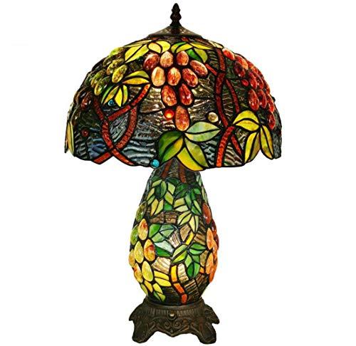 Lámpara De Mesa De Estilo Tiffany Lámpara De Cristal De Cristal De Colores Base De Resina Mano Hecho A Mano Patrón De UVA Lámpara De Mesa Decorativa