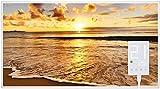 Heidenfeld Infrarotheizung HF-HP105 500 Watt Strand Fotomotiv + Steckdosenthermostat HF-DT100-10 Jahre Garantie - Deutsche Qualitätsmarke - TÜV GS - Für 5-12 m² Räume (500 Watt, Strand)