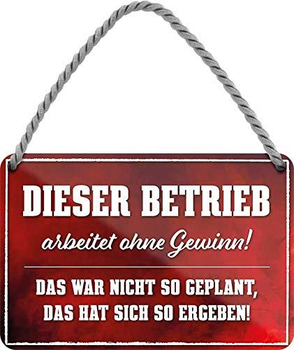 Cartel de chapa con texto en alemán: 'Das Operation Arbeitet .' decorativo, cartel para puerta de entrada de casa, cartel para tienda, cartel para regalo de cumpleaños o Navidad 18 x 12 cm