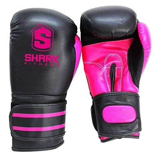 Sharkboxing SKF-Guanti da Boxe, Unisex, SKF, Nero/Rosa, 14 oz