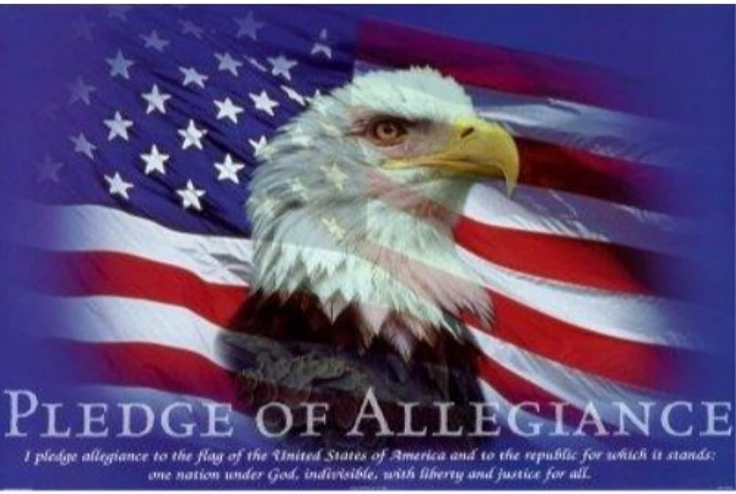 Buyartforless Pledge of Allegiance Giclee Edition by Bob Downs 36x24 Art Print Bald Eagle American Flag Patriotism
