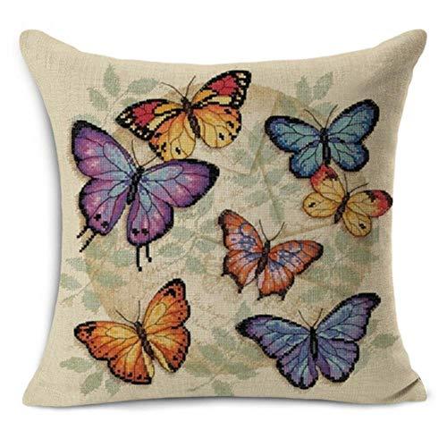 Ving Euro klassieke stijl Retro Butterfly print Linnen katoen decoratieve sierkussen Decoratie Vintage kussensloop, Deep Blue, 45x45cm kussensloop