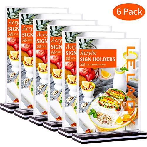 LELADY 6 Stück DIN A5 Tischaufsteller schräg/Werbeaufsteller/Glasklar Acryl, T-Aufsteller Doppelseitig, Menükartenhalter für Speisekarten, Tischkarten, Fotorahmen & Werbung