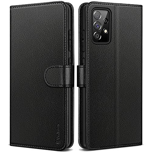 Vakoo Samsung Galaxy A52 Hülle/Samsung Galaxy A52S 5G Hülle, Leder Handyhülle für Samsung A52 Hülle klappbar, mit RFID Schutz, Schwarz