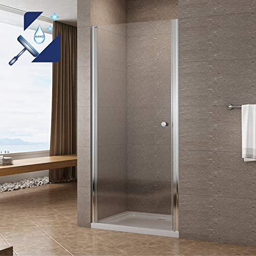 AQUABATOS® Duschtür 90 cm Breit 195 cm Höhe Drehtür Dusche Duschabtrennung Nischentür Pendeltür Duschwand Glas Schwingtür Duschtrennwand aus 6 mm Sicherheitsglas ESG mit Lotuseffekt Nanobeschichtung