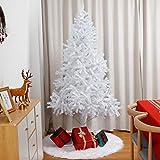 Yorbay Sapin de Noël Artificiel Blanc avec Support de Fer, Matériel PVC, 120 cm - 210 cm Sapin Artificial pour Décoration Noël (180 cm)
