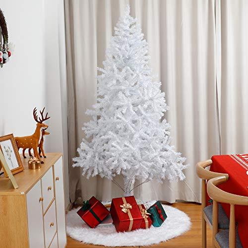 Yorbay Árbol de Navidad Artificial Blanco con Soporte en Metal, Decoración Navideña