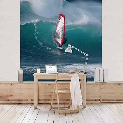 Apalis Vliestapete The Surfer Fototapete Quadrat | Vlies Tapete Wandtapete Wandbild Foto 3D Fototapete für Schlafzimmer Wohnzimmer Küche | Größe: 336x336 cm, blau, 98078