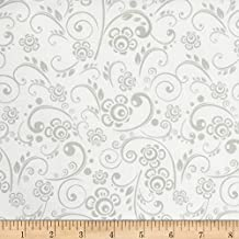 Santee Print Works Get Back! Floral Swirl Gray/White Fabric By The Yard