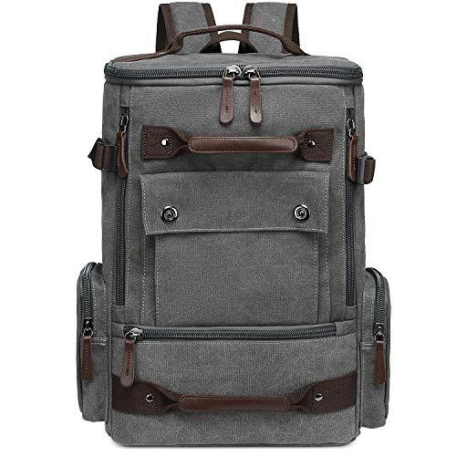 School Backpack Vintage Canvas Laptop Backpacks Men Women Rucksack Bookbags (Grey - 8688)