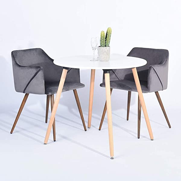 HOMY CASA Modern Velvet Dining Room Chairs Large Fabric Side Chairs With Metal Leg For Kitchen Dining Room Bedroom Leisure Chairs Set Of 2 Grey