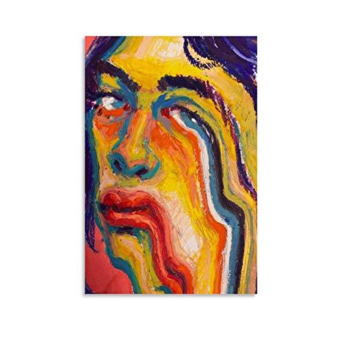 Abstraktes buntes Gesicht in Ölgemälde Kunstdruck auf Leinwand, Kunst-Poster und Wandkunstdruck, modernes Familienschlafzimmerdekor, 50 x 75 cm
