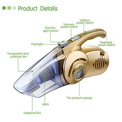 LLZXCQ Auto-stofzuiger, 4-in-1, multifunctioneel, 120 W, vochtig en droog, dubbel gebruik, auto, stofzuiger, pomp, bandenpomp, auto, compressor, met ledlicht Een