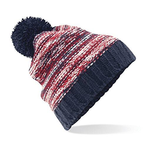 Beechfield - Bonnet tricoté avec pompon - Adulte unisexe, - Navy/ Red / Off White, Taille unique