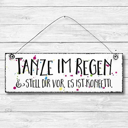 Tanze im Regen - Bad Dekoschild Türschild Wandschild aus Holz 10x30cm - Holzdeko Holzbild Deko Schild