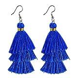 AD Beads Fashion Charm Crystal Silk Tassel 3 Layers Fan Fringe Dangle Earrings (16 Royal Blue)