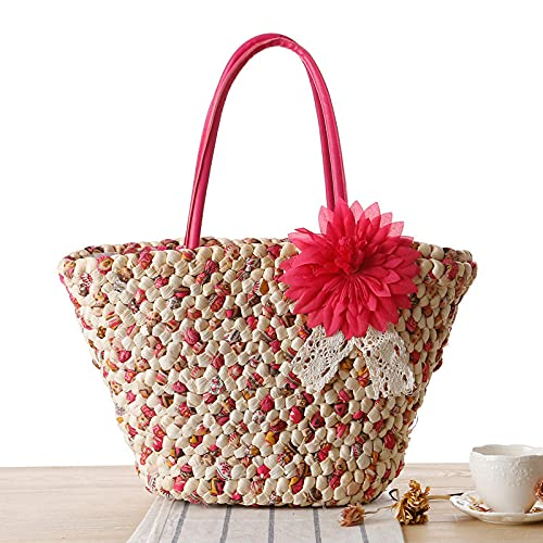 XFYS Sommer gewebt Tasche Gras Paket große kapazität Handtasche Bogen Hohle strandsack-Rose rot