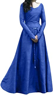 Hadeflia Womens Maxi Party Dress Medieval V Neck Long Sleeve Prom Dresses Vintage Solid Bandage Costume Plus Size S-5XL