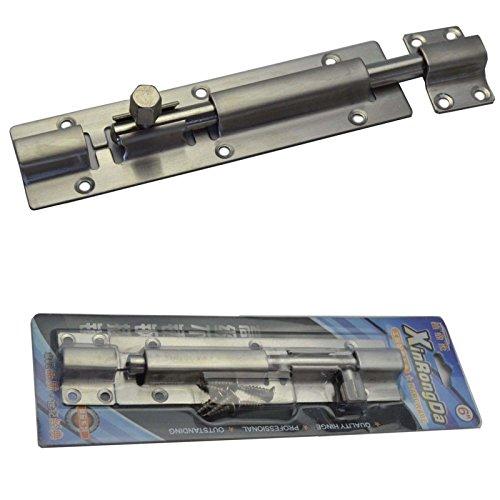 Euro Tische Edelstahl Türriegel Bolzenriegel ideal für Innen- & Außenbereich - Stabiles Riegelschloss für Türen & Tore - 175 x 40 mm