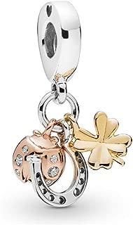 Romántico Amor Clover,Butterfly,Horseshoe&Ladybird Dangle Charm 925 Sterling Silver Bead fit Pandora Bracelets