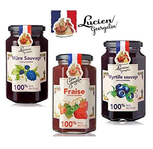 Lucien Georgelin Tris Marmelade Made in France 1 x wilde Brombeeren, 1 x Erdbeere, 1 x wilde Heidelbeeren, 100% Obst - 3 x 300 Gramm