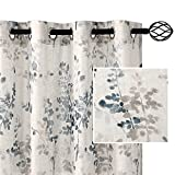 H.VERSAILTEX Sheer Linen Curtains 63 Inch Long Semi Sheer Curtains Draperies for Living Room/Bedroom Bluestone and Taupe Vintage Classical Floral Printing Window Treatment Grommet 2 Panels