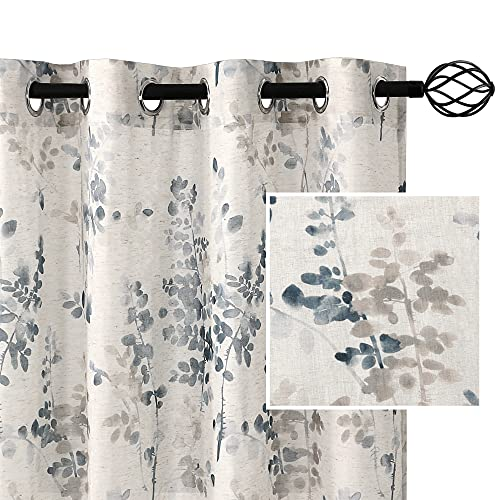 H.VERSAILTEX Sheer Linen Curtains 95 Inch Long Semi Sheer Curtains Draperies for Living Room/Bedroom Bluestone and Taupe Vintage Classical Floral Printing Window Treatment Grommet 2 Panels