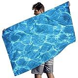 Bannihorse Toalla de playa de microfibra con diseño de peces marinos azules, de alta solidez de color, manta de playa, manta de pícnic para gimnasio, color blanco, 150 x 75 cm