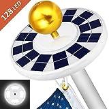MOICO Solar Flag Pole Light, 128 Super-Bright Solar Powered LED Flagpole Light, 2500mAh Waterproof Solar Light for in-Ground Poles 15-20 Foot, Energy Saving LEDs, Auto On/Off Night Lighting