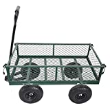 ZeHuoGe Detachable Utility Wagon Garden Trucks Garden Trolley Max 500Lbs Load 10' Pneumatic Tires Removable Sides Garden Utility Vehicle for Transport Firewood, Plants, Chicken Feed, Potted Soil