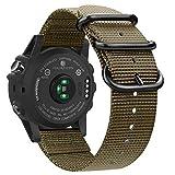 Fintie Band Compatible with Garmin Fenix 5X Plus/Tactix Charlie Watch, 26mm Premium Woven Nylon Adjustable Replacement Strap Compatible with Fenix 5X / 5X Plus / 3/3 HR Smartwatch (Desert Tan)