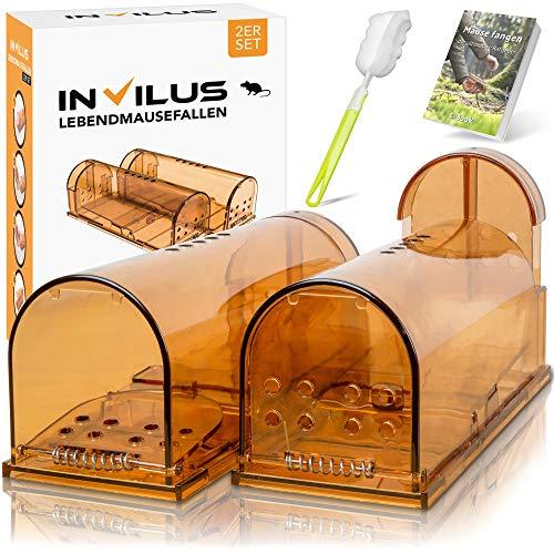 invilus® - Die Innovative Mausefalle Lebend im Exklusiven [2er Set] | Inklusive Reinigungsbürste + eBook | CatchAlive System | Lebendfallen Mäuse | Lebendfalle Maus | Mäusefalle Lebend