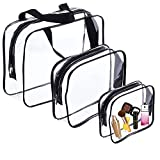 3Pcs Clear Toiletry Bags,Clear Plastic Cosmetic Bag with Zipper PVC Make-up Pouch for Vacation Travel, Bathroom and Organizing (Three sizes)