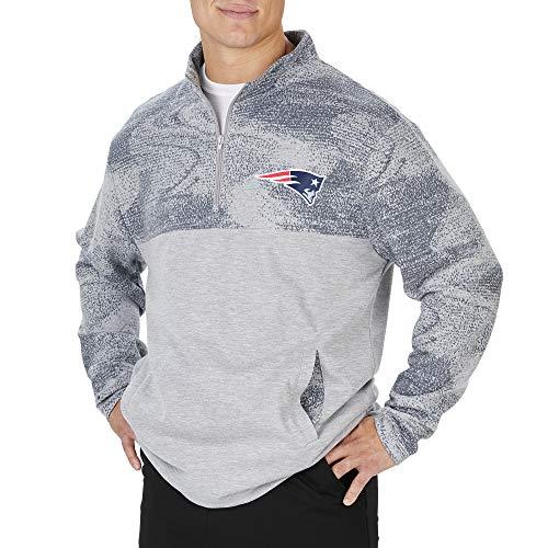 Zubaz NFL New England Patriots - Chaqueta de forro polar con cremallera 1/4, gris, grande